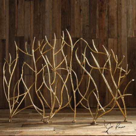 Gold Branches Decorative Fireplace Screen